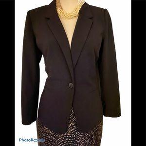 Kenzie Black One Button Lined Career Blazer Sz S